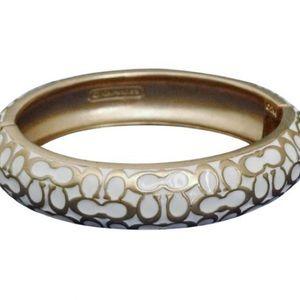 Coach Designer Gold & White Enamel Logo Bracelet